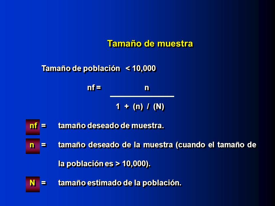 Tamaño de muestra Tamaño de población < 10,000 nf =n 1 + (n) / (N) nf =tamaño deseado de muestra. n=tamaño deseado de la muestra (cuando el tamaño de