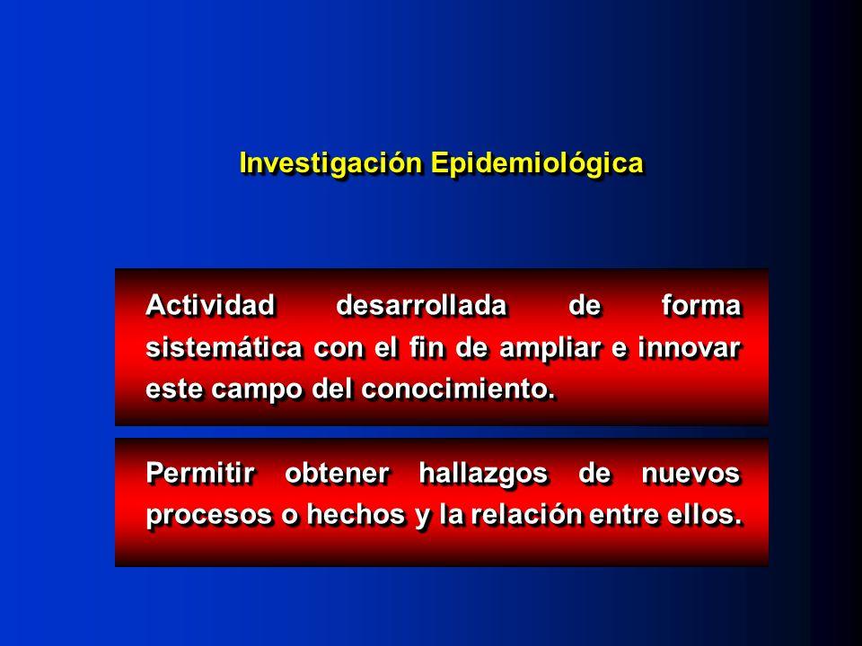 Investigación Epidemiológica Actividad desarrollada de forma sistemática con el fin de ampliar e innovar este campo del conocimiento. Permitir obtener