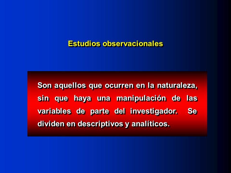 Estudios observacionales Son aquellos que ocurren en la naturaleza, sin que haya una manipulación de las variables de parte del investigador.