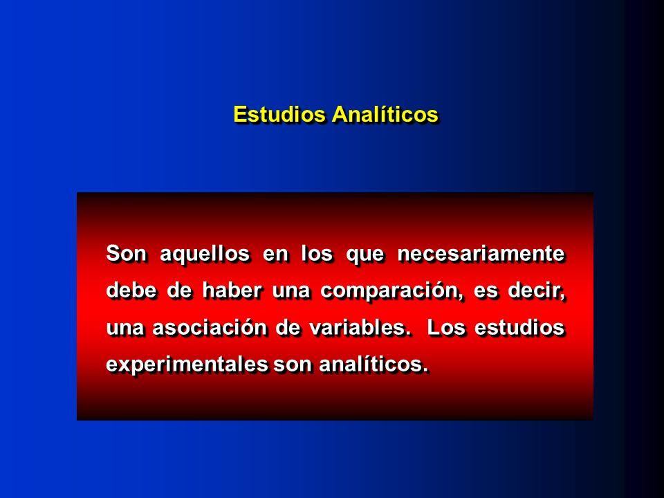Estudios Analíticos Son aquellos en los que necesariamente debe de haber una comparación, es decir, una asociación de variables. Los estudios experime
