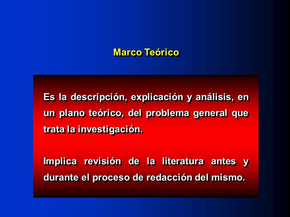 Marco Teórico Es la descripción, explicación y análisis, en un plano teórico, del problema general que trata la investigación. Implica revisión de la
