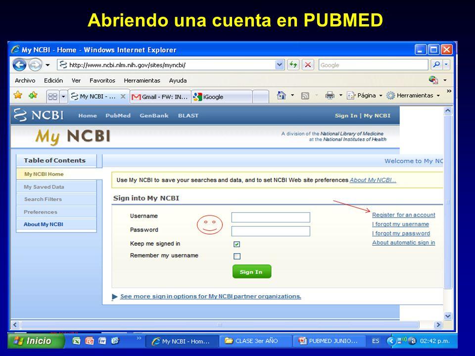 Abriendo una cuenta en PUBMED
