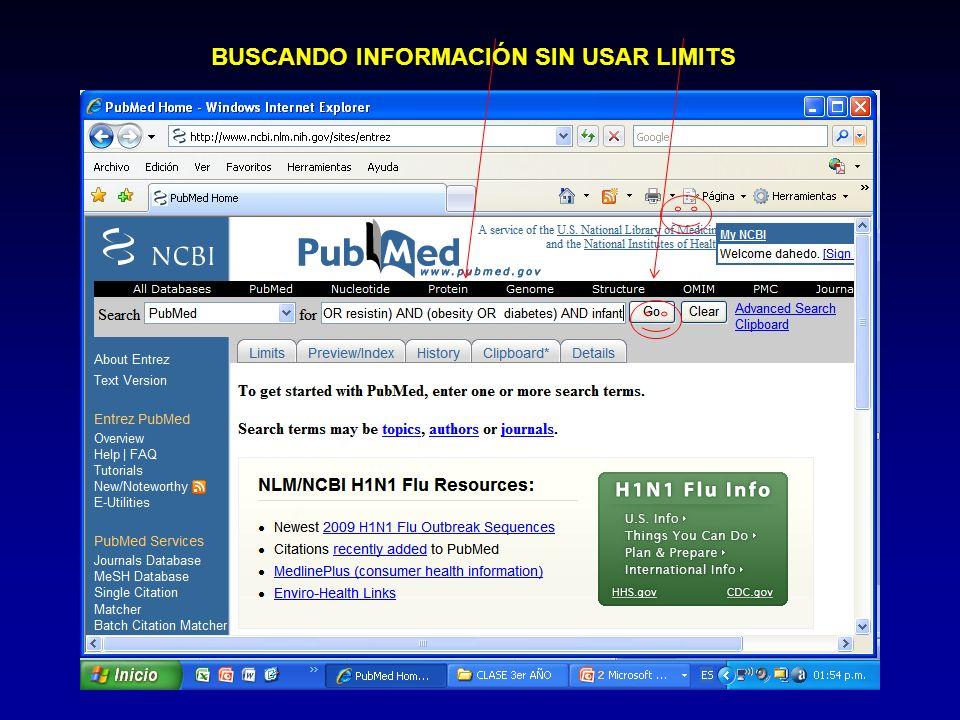 BUSCANDO INFORMACIÓN SIN USAR LIMITS