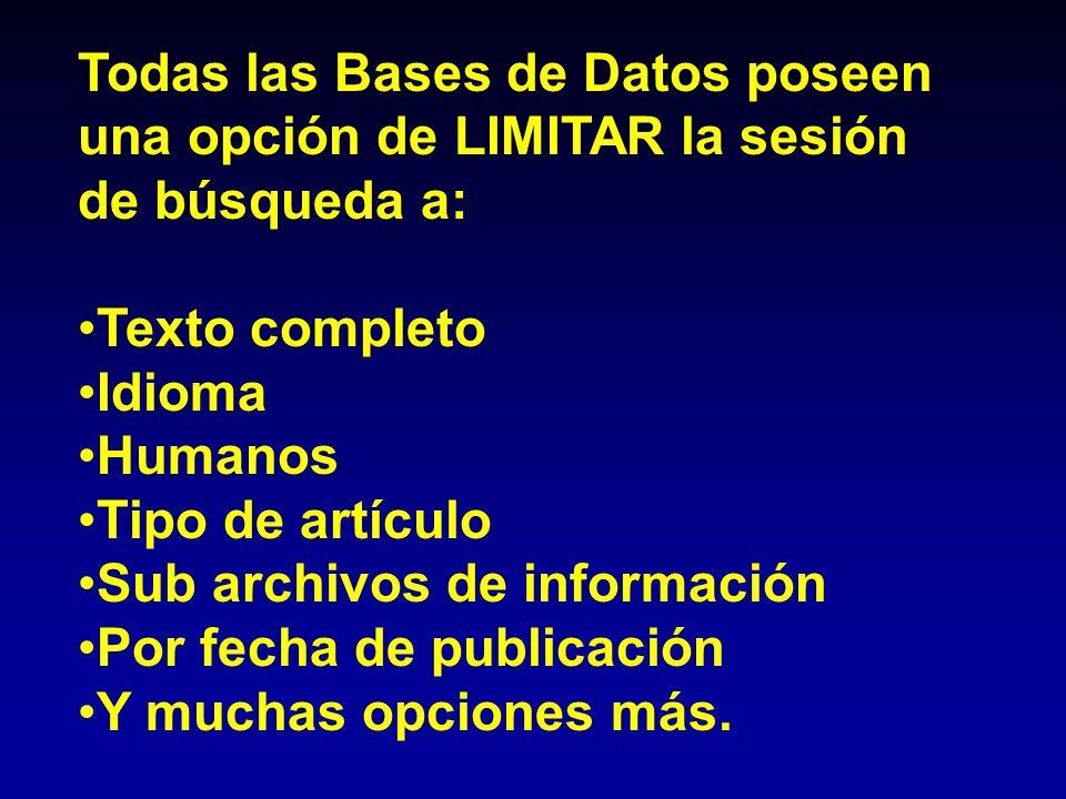 Todas las Bases de Datos poseen una opción de LIMITAR la sesión de búsqueda a: Texto completo Idioma Humanos Tipo de artículo Sub archivos de informac