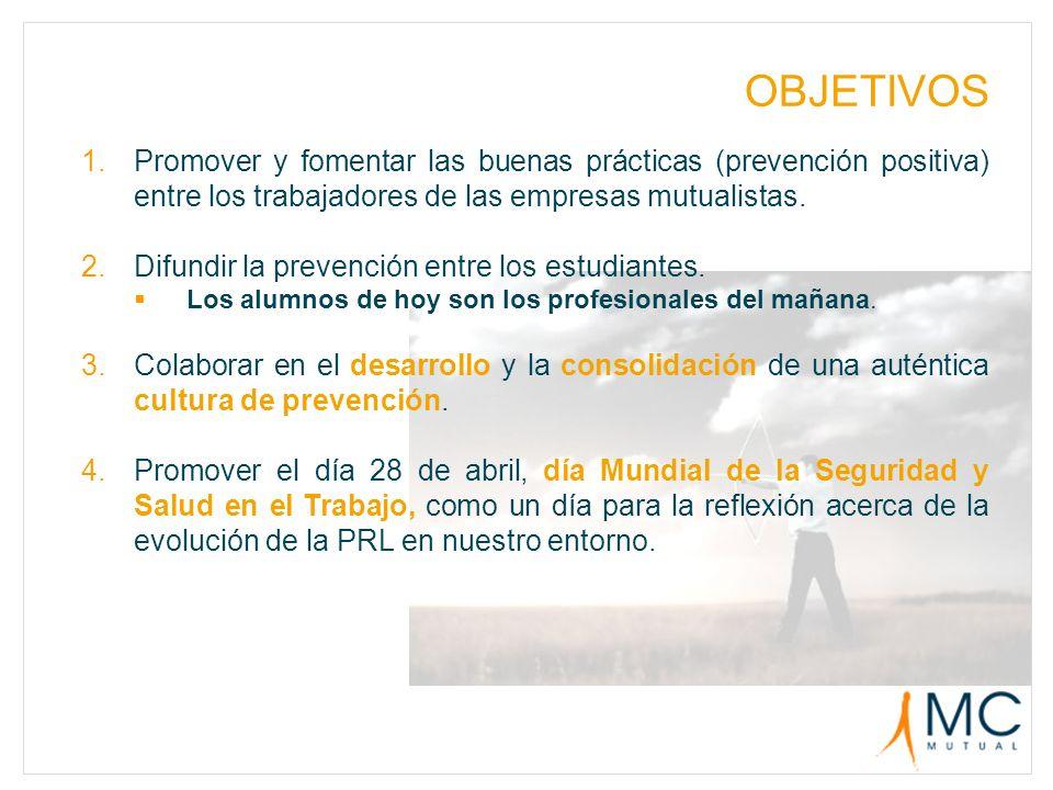 OBJETIVOS 1.Promover y fomentar las buenas prácticas (prevención positiva) entre los trabajadores de las empresas mutualistas. 2.Difundir la prevenció