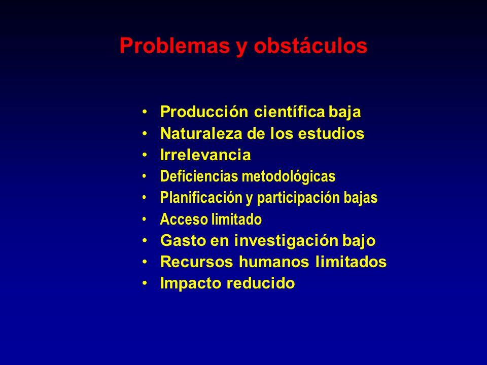 Producción científica baja Naturaleza de los estudios Irrelevancia Deficiencias metodológicas Planificación y participación bajas Acceso limitado Gast