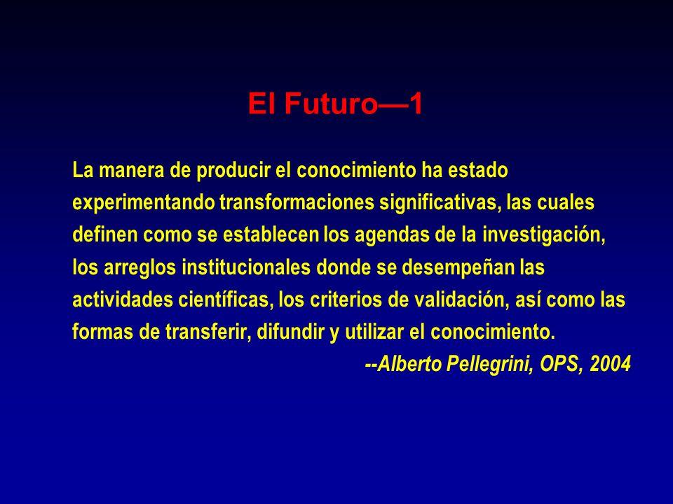 El Futuro1 La manera de producir el conocimiento ha estado experimentando transformaciones significativas, las cuales definen como se establecen los a