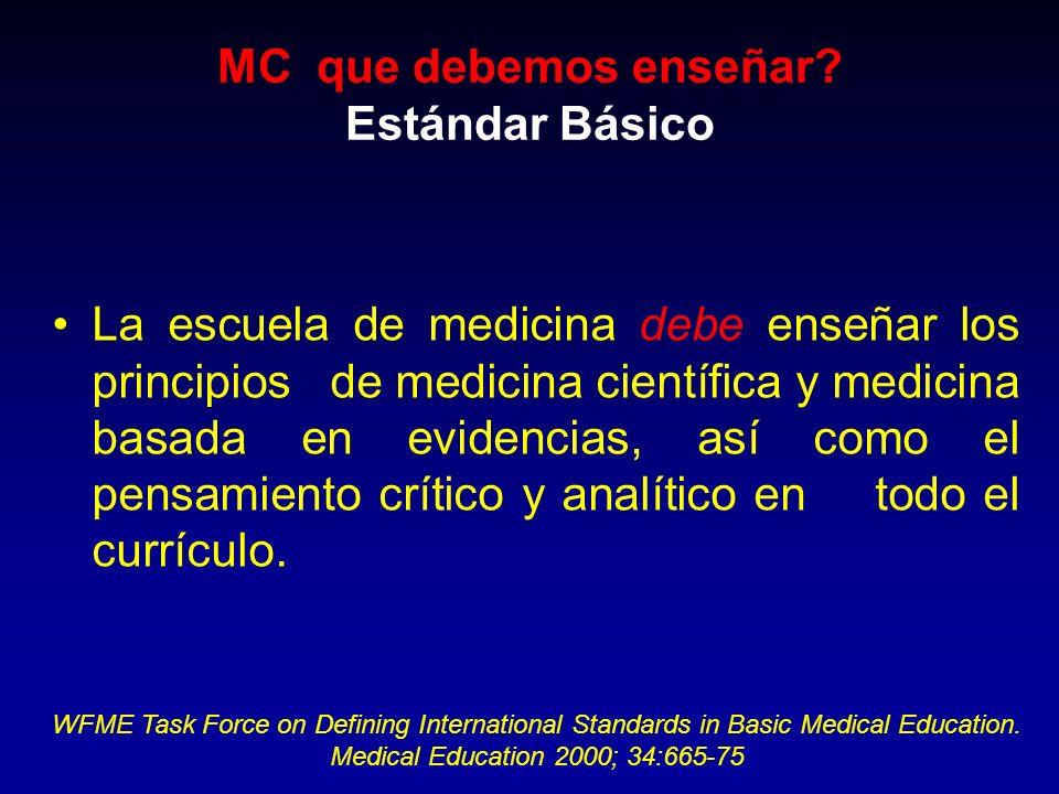 La escuela de medicina debe enseñar los principios de medicina científica y medicina basada en evidencias, así como el pensamiento crítico y analítico