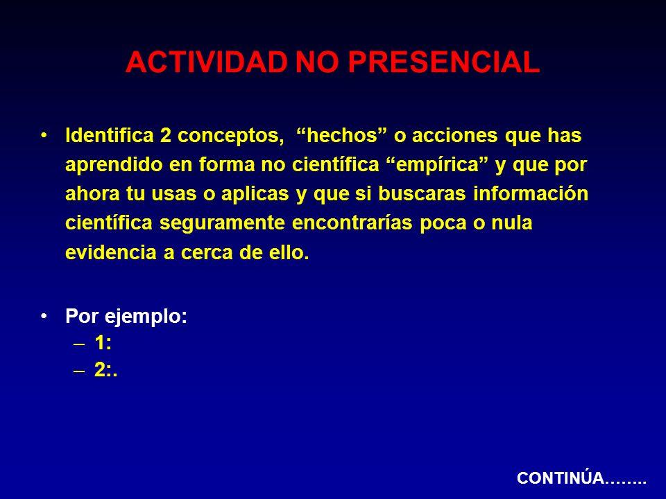 ACTIVIDAD NO PRESENCIAL Identifica 2 conceptos, hechos o acciones que has aprendido en forma no científica empírica y que por ahora tu usas o aplicas