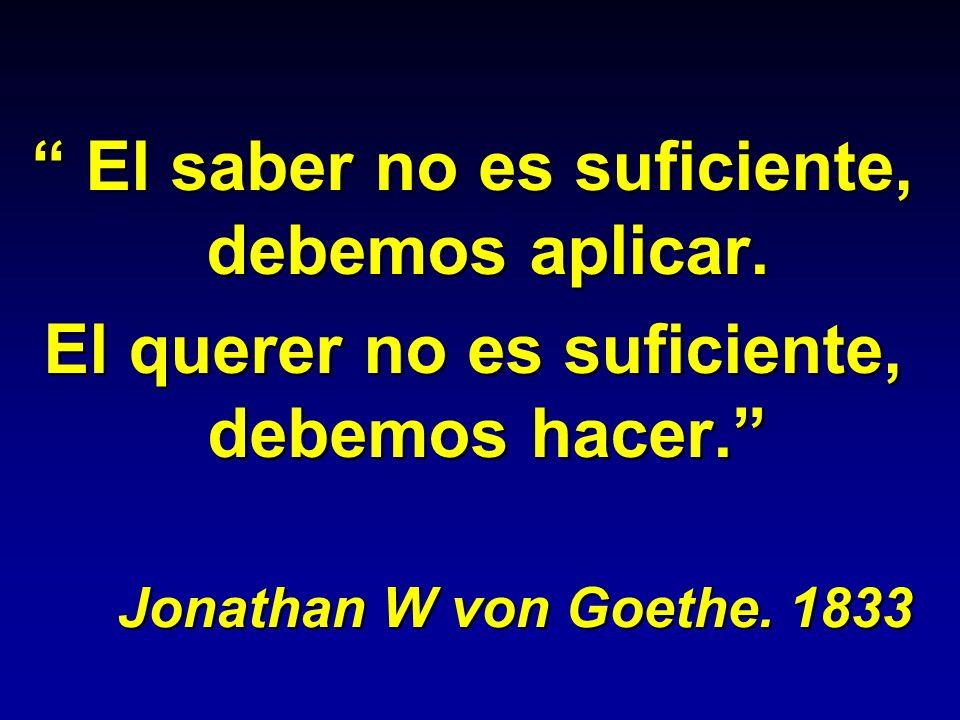 El saber no es suficiente, debemos aplicar. El saber no es suficiente, debemos aplicar. El querer no es suficiente, debemos hacer. Jonathan W von Goet