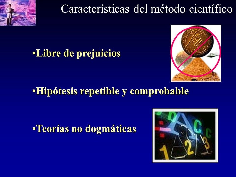Características del método científico Libre de prejuiciosLibre de prejuicios Hipótesis repetible y comprobableHipótesis repetible y comprobable Teoría