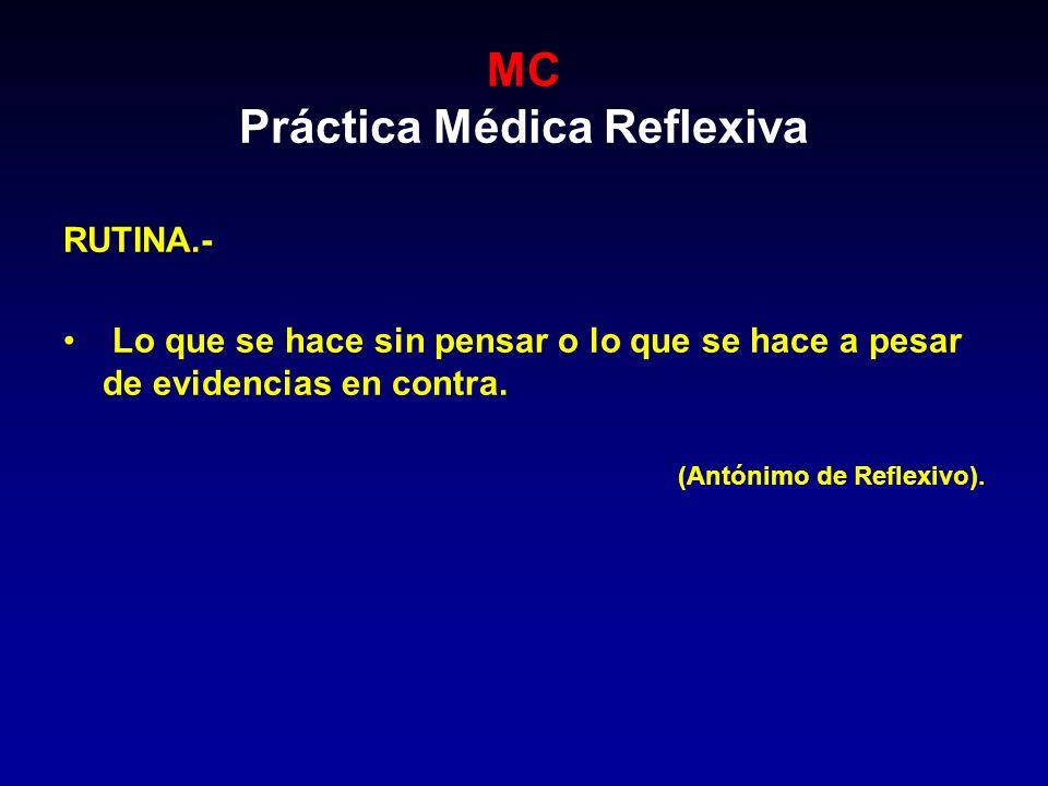 MC Práctica Médica Reflexiva RUTINA.- Lo que se hace sin pensar o lo que se hace a pesar de evidencias en contra. (Antónimo de Reflexivo).