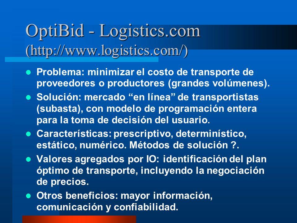 OptiBid - Logistics.com (http://www.logistics.com/) Problema: minimizar el costo de transporte de proveedores o productores (grandes volúmenes). Soluc