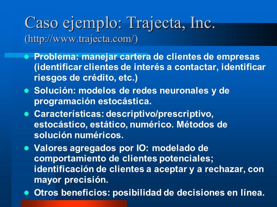 Caso ejemplo: Trajecta, Inc. (http://www.trajecta.com/) Problema: manejar cartera de clientes de empresas (identificar clientes de interés a contactar