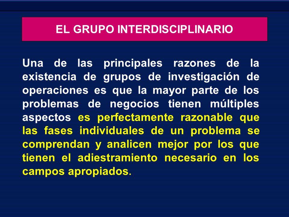 EL GRUPO INTERDISCIPLINARIO Una de las principales razones de la existencia de grupos de investigación de operaciones es que la mayor parte de los pro