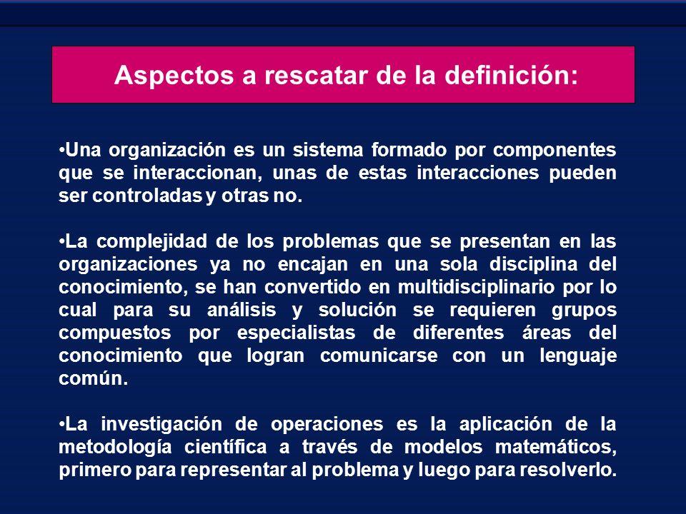 Aspectos a rescatar de la definición: Una organización es un sistema formado por componentes que se interaccionan, unas de estas interacciones pueden