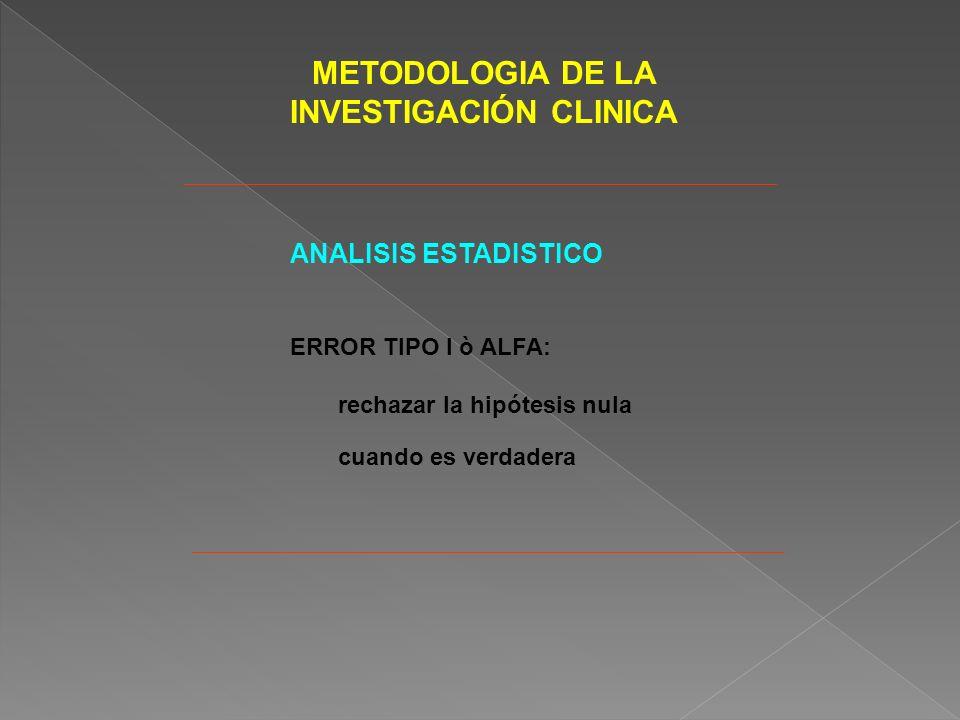 METODOLOGIA DE LA INVESTIGACIÓN CLINICA ANALISIS ESTADISTICO ERROR TIPO I ò ALFA: rechazar la hipótesis nula cuando es verdadera