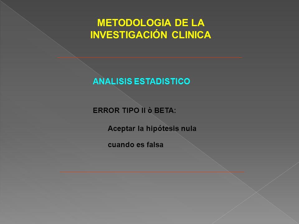 METODOLOGIA DE LA INVESTIGACIÓN CLINICA ANALISIS ESTADISTICO ERROR TIPO II ò BETA: Aceptar la hipótesis nula cuando es falsa