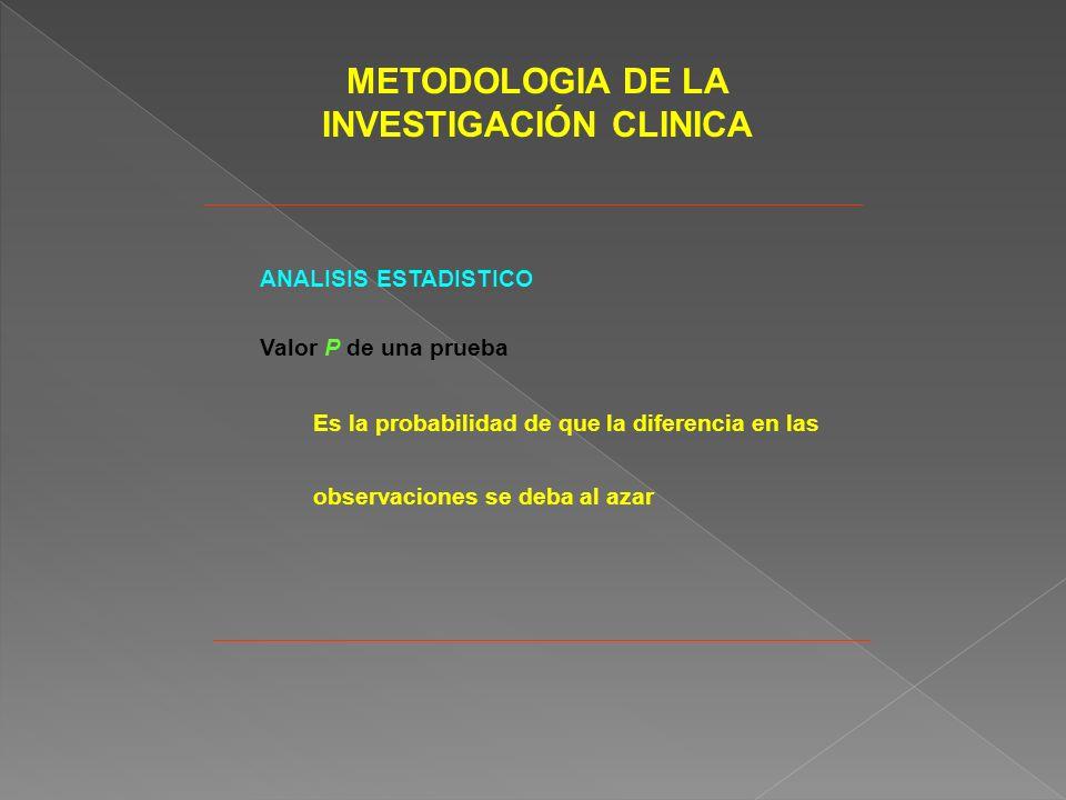 METODOLOGIA DE LA INVESTIGACIÓN CLINICA ANALISIS ESTADISTICO Valor P de una prueba Es la probabilidad de que la diferencia en las observaciones se deba al azar