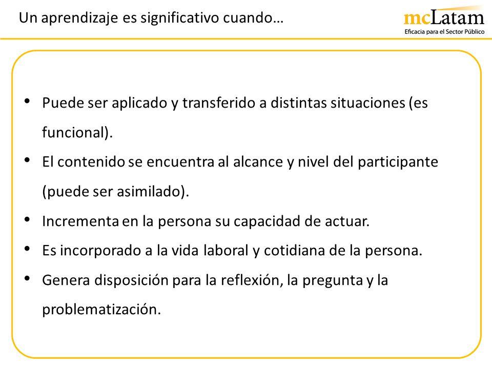 Un aprendizaje es significativo cuando… Puede ser aplicado y transferido a distintas situaciones (es funcional). El contenido se encuentra al alcance