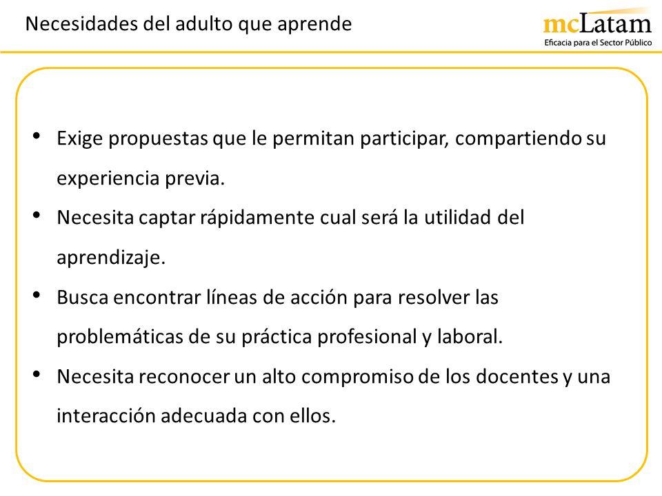 Necesidades del adulto que aprende Exige propuestas que le permitan participar, compartiendo su experiencia previa. Necesita captar rápidamente cual s