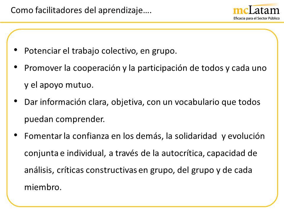 Como facilitadores del aprendizaje…. Potenciar el trabajo colectivo, en grupo. Promover la cooperación y la participación de todos y cada uno y el apo