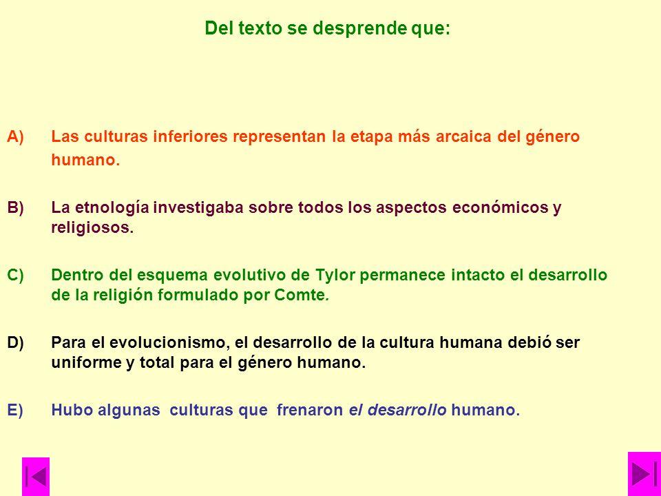 Del texto se desprende que: A)Las culturas inferiores representan la etapa más arcaica del género humano. B)La etnología investigaba sobre todos los a