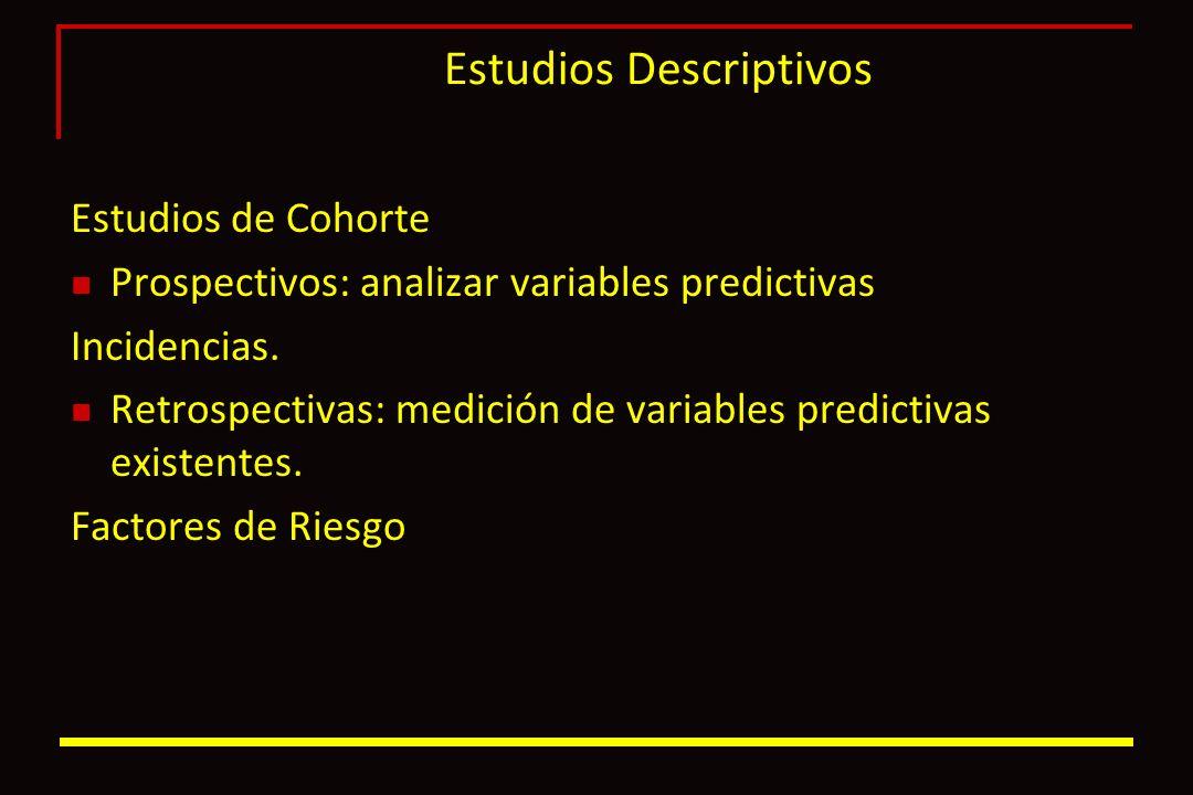 Estudios Descriptivos Estudios de Cohorte Prospectivos: analizar variables predictivas Incidencias. Retrospectivas: medición de variables predictivas