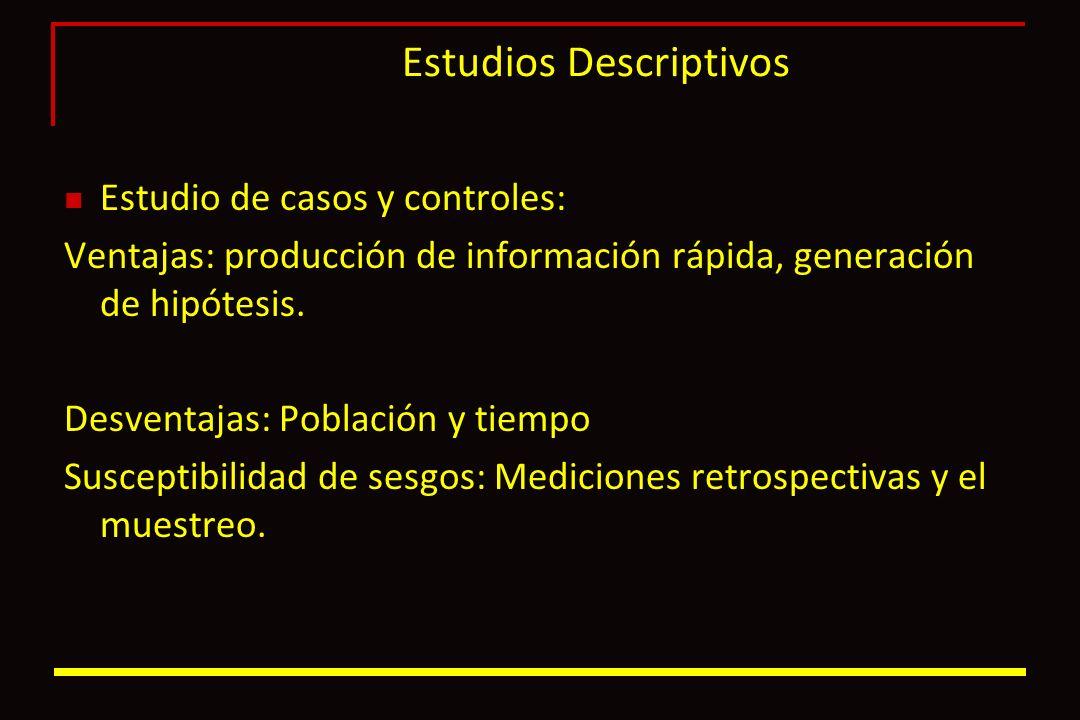 Estudios Descriptivos Estudio de casos y controles: Ventajas: producción de información rápida, generación de hipótesis. Desventajas: Población y tiem