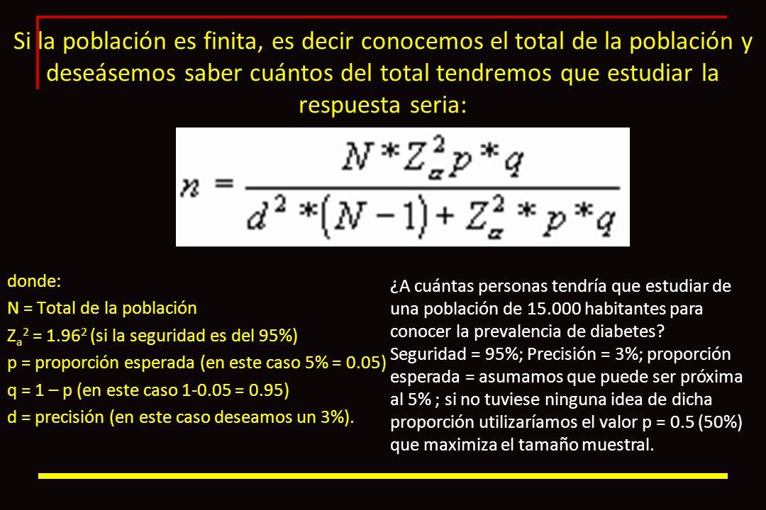 Si la población es finita, es decir conocemos el total de la población y deseásemos saber cuántos del total tendremos que estudiar la respuesta seria:
