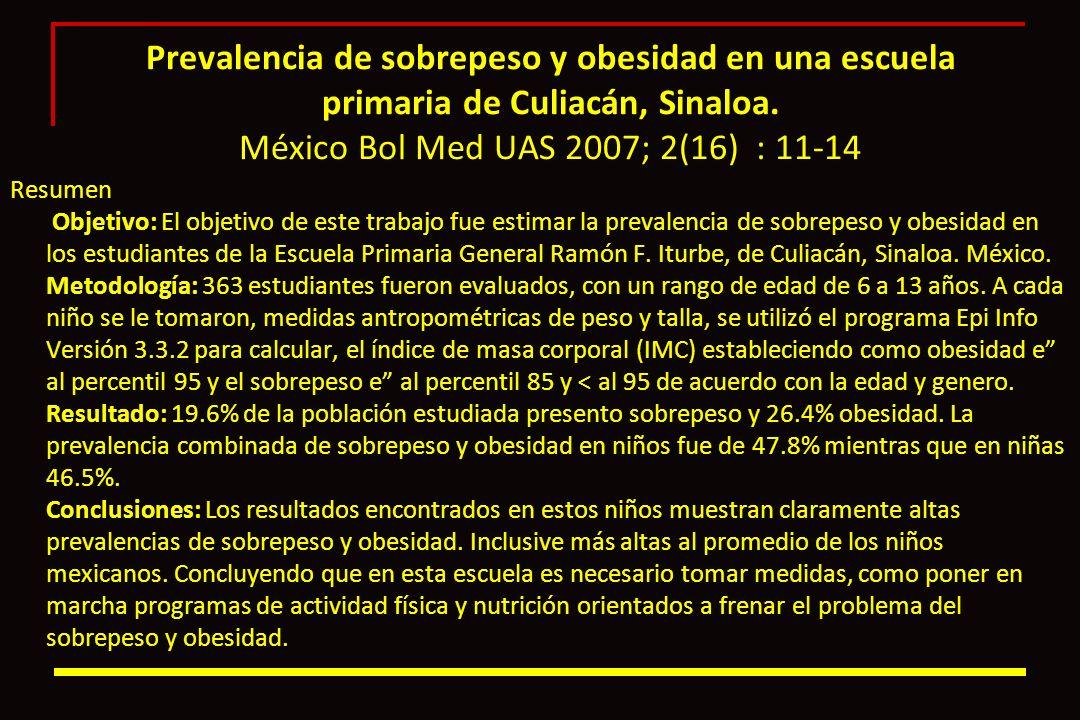 Prevalencia de sobrepeso y obesidad en una escuela primaria de Culiacán, Sinaloa. México Bol Med UAS 2007; 2(16) : 11-14 Resumen Objetivo: El objetivo