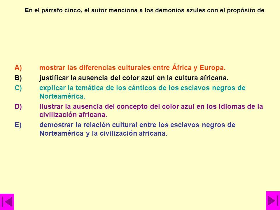 En el párrafo cinco, el autor afirma que A)la población negra de África no distingue el color azul. B)el desarrollo cultural de la civilización indoeu