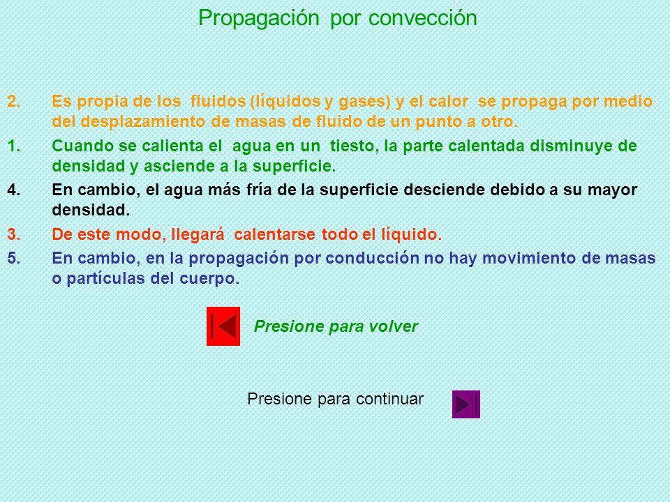 Propagación por convección 1.Cuando se calienta el agua en un tiesto, la parte calentada disminuye de densidad y asciende a la superficie. 2.Es propia