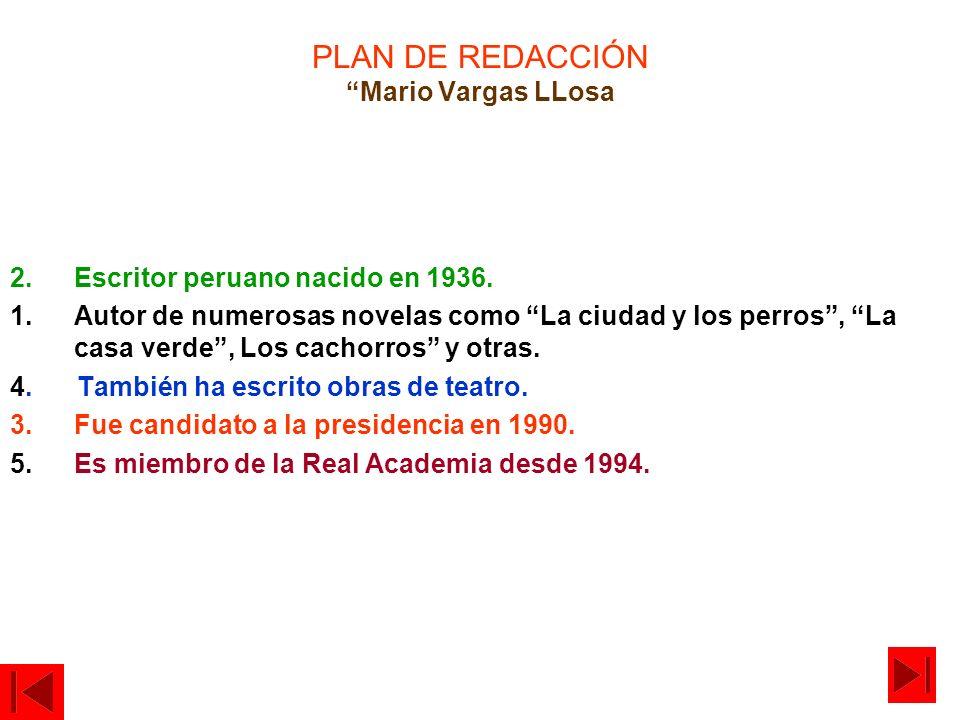 PLAN DE REDACCIÓN Mario Vargas LLosa 2.Escritor peruano nacido en 1936. 1.Autor de numerosas novelas como La ciudad y los perros, La casa verde, Los c
