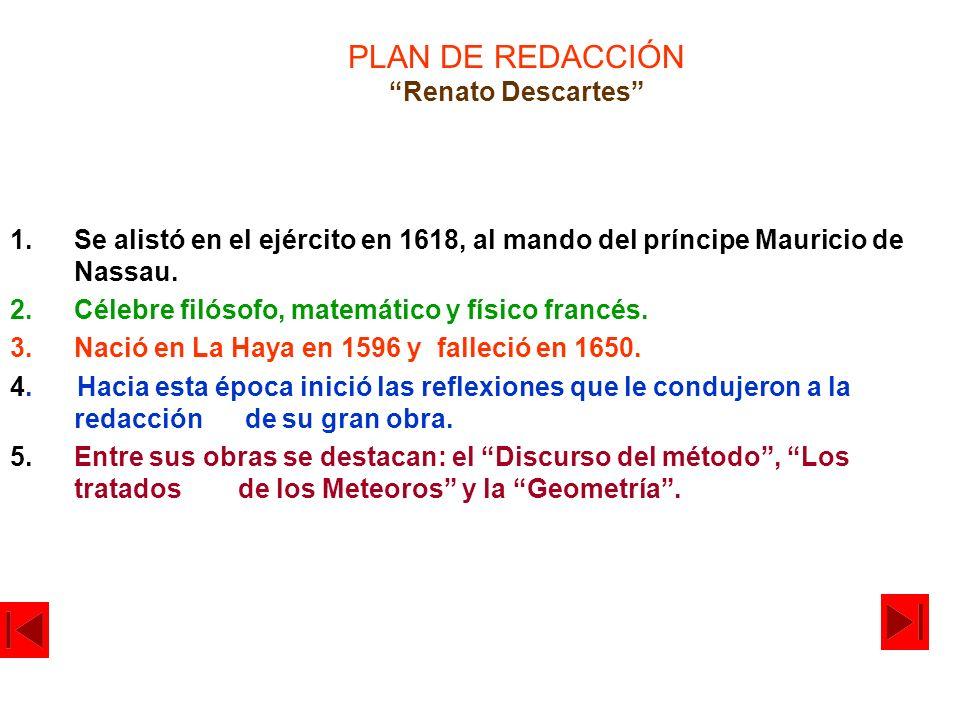 PLAN DE REDACCIÓN Renato Descartes 1.Se alistó en el ejército en 1618, al mando del príncipe Mauricio de Nassau. 2.Célebre filósofo, matemático y físi