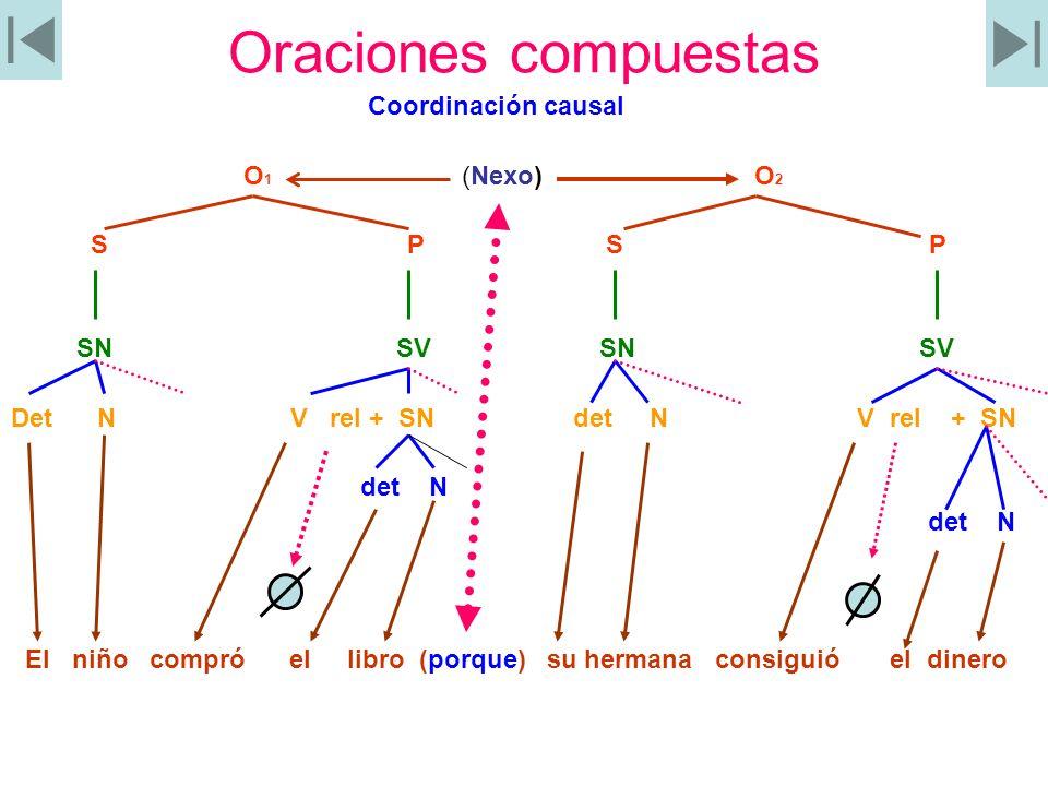 Oraciones compuestas Coordinación causal O 1 (Nexo) O 2 S P S P SN SV SN SV Det N V rel + SN det N V rel + SN det N El niño compró el libro (porque) s