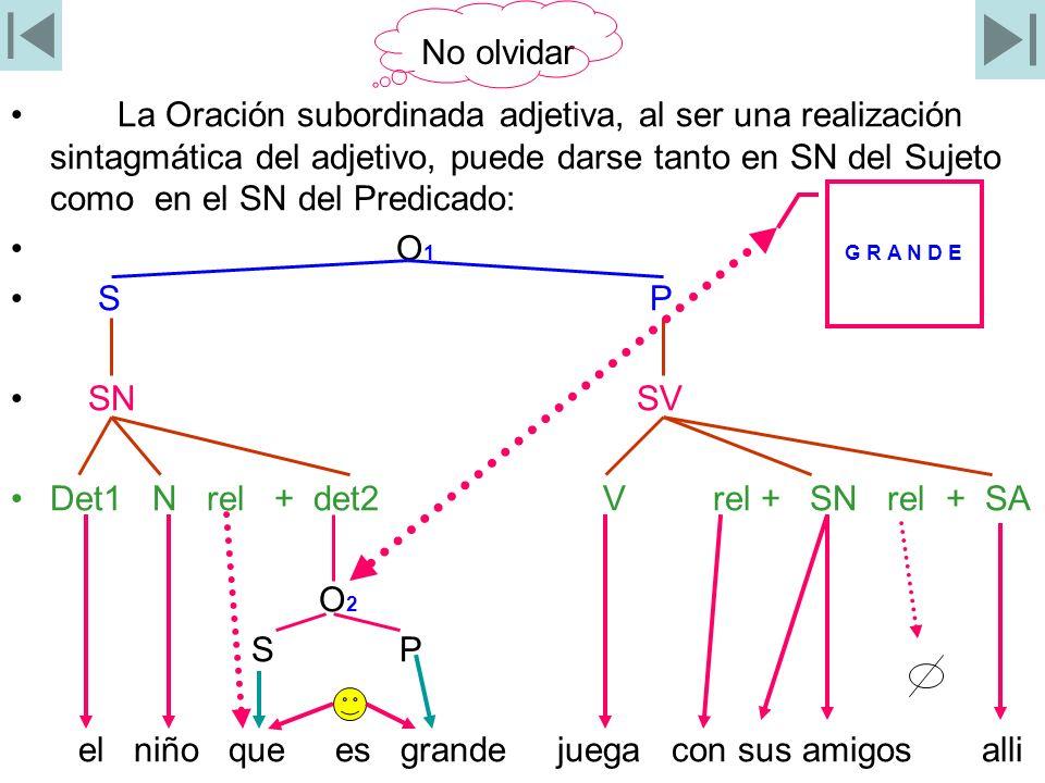 Oración Subordinada ubicada en un SN del Predicado 0 1 S P SN SV Det N det2 V rel + SN det1 N det2 rel + 0 S P SN SV La niña grande compró el lápiz que vimos ayer