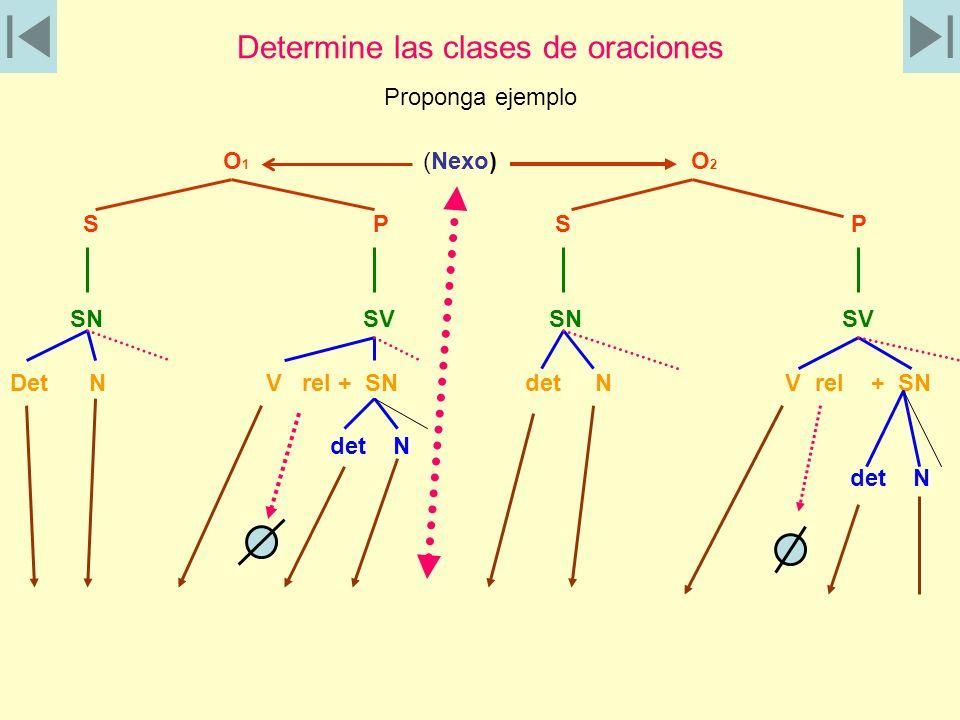 Determine las clases de oraciones Proponga ejemplo O 1 (Nexo) O 2 S P S P SN SV SN SV Det N V rel + SN det N V rel + SN det N