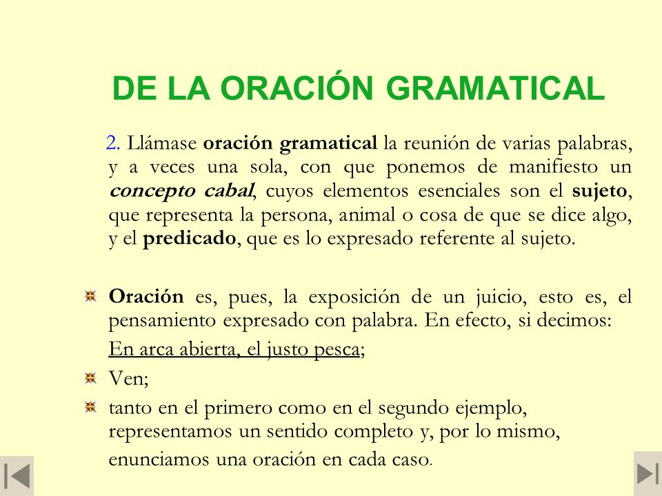 DE LA ORACIÓN GRAMATICAL 2.