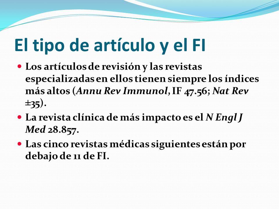 El tipo de artículo y el FI Los artículos de revisión y las revistas especializadas en ellos tienen siempre los índices más altos (Annu Rev Immunol, I