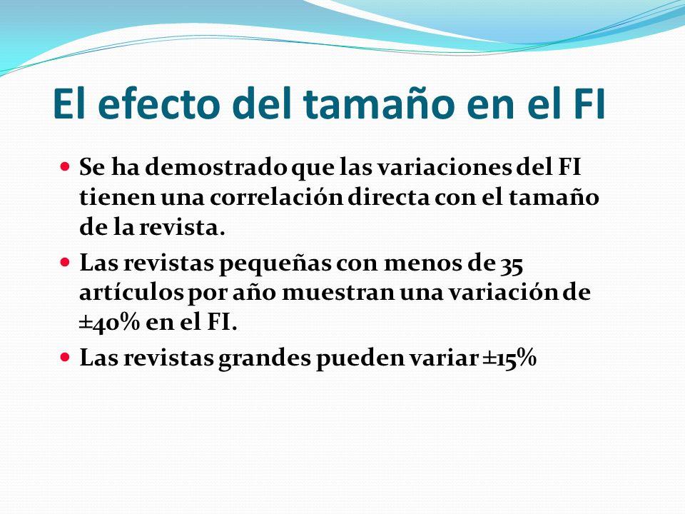El efecto del tamaño en el FI Se ha demostrado que las variaciones del FI tienen una correlación directa con el tamaño de la revista. Las revistas peq