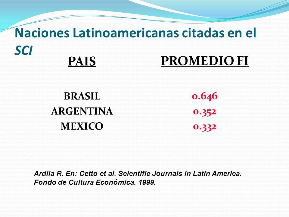 Naciones Latinoamericanas citadas en el SCI PAIS BRASIL ARGENTINA MEXICO PROMEDIO FI 0.646 0.352 0.332 Ardila R. En: Cetto et al. Scientific Journals