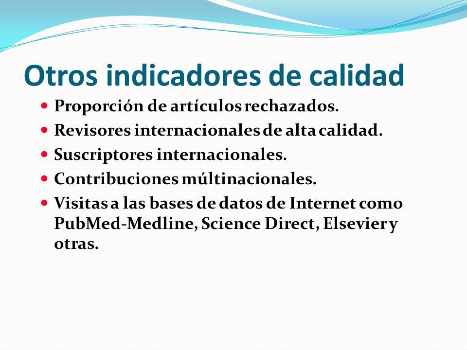 Otros indicadores de calidad Proporción de artículos rechazados. Revisores internacionales de alta calidad. Suscriptores internacionales. Contribucion