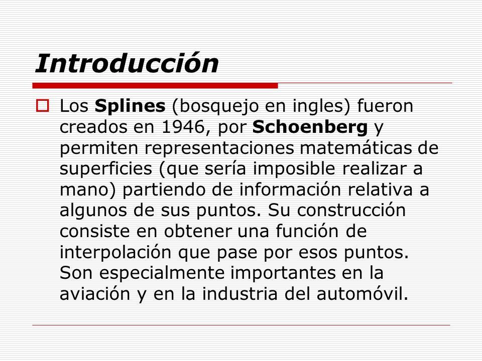 Introducción Los Splines (bosquejo en ingles) fueron creados en 1946, por Schoenberg y permiten representaciones matemáticas de superficies (que sería