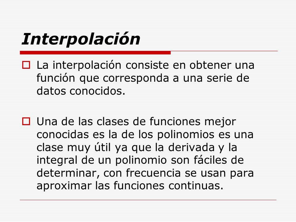 Interpolación La interpolación consiste en obtener una función que corresponda a una serie de datos conocidos. Una de las clases de funciones mejor co