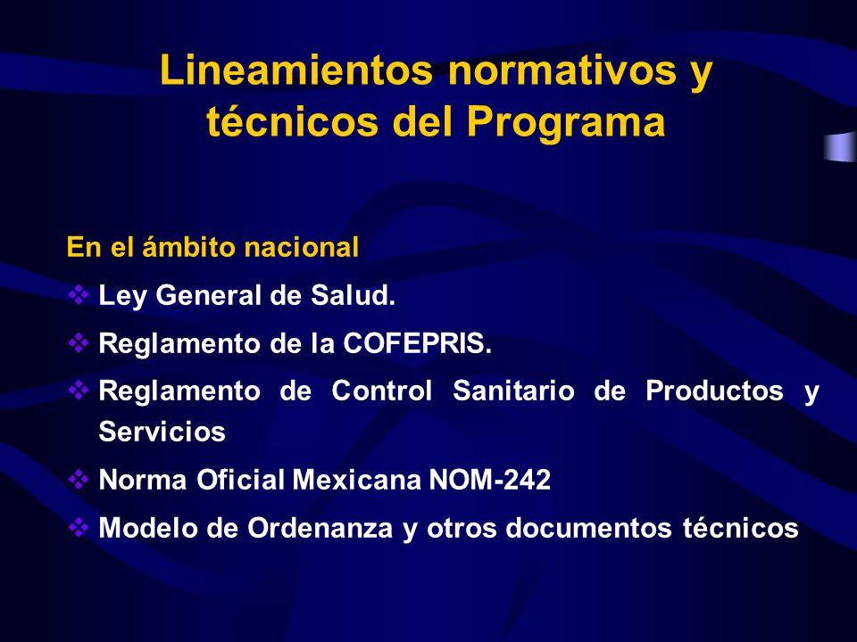 Lineamientos normativos y técnicos del Programa En el ámbito nacional Ley General de Salud. Reglamento de la COFEPRIS. Reglamento de Control Sanitario