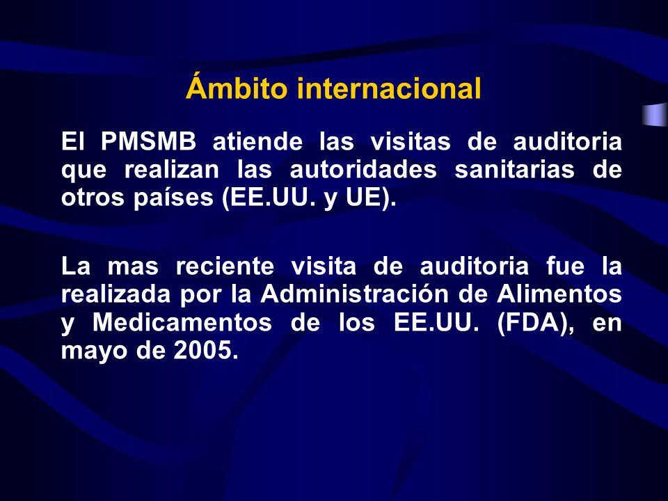 El PMSMB atiende las visitas de auditoria que realizan las autoridades sanitarias de otros países (EE.UU. y UE). La mas reciente visita de auditoria f