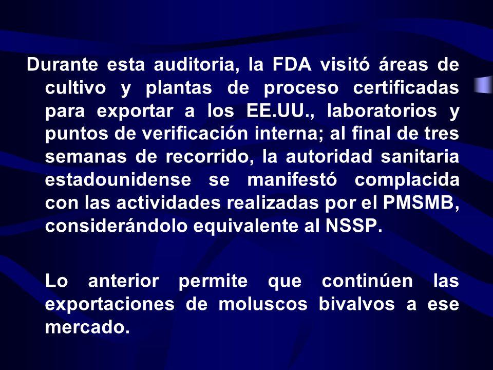 Durante esta auditoria, la FDA visitó áreas de cultivo y plantas de proceso certificadas para exportar a los EE.UU., laboratorios y puntos de verifica