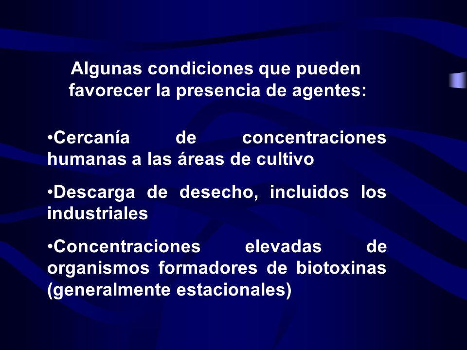 Algunas condiciones que pueden favorecer la presencia de agentes: Cercanía de concentraciones humanas a las áreas de cultivo Descarga de desecho, incl