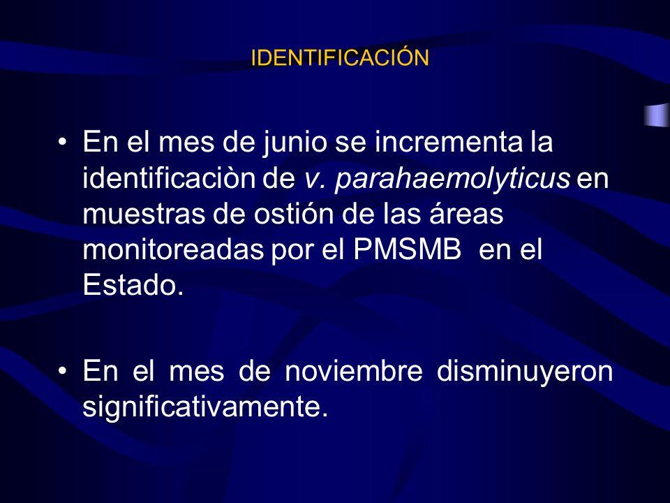 En el mes de junio se incrementa la identificaciòn de v. parahaemolyticus en muestras de ostión de las áreas monitoreadas por el PMSMB en el Estado. E